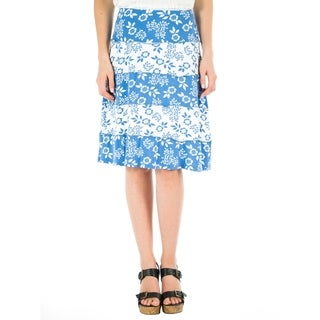 DownEast Basics Women's Blue Floral Stripe Printed A-Line Panel Skirt