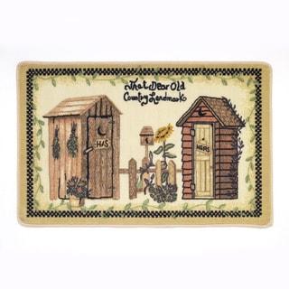 Outhouses Motif Bath Rug