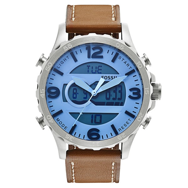 Fossil Men's Nate Analog-Digital Multi-Function Brown Leather Watch JR1492
