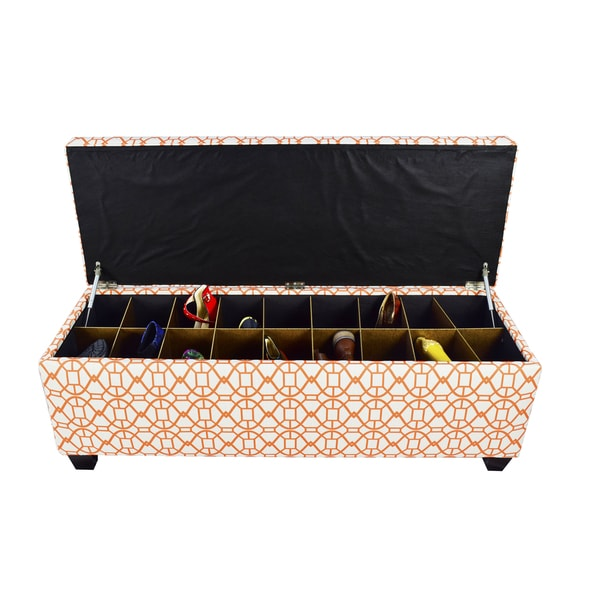The Sole Secret Noah Sunset Button Tufted Shoe Storage Bench