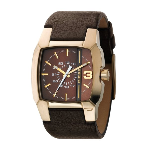 Diesel Unisex Square Brown Dial Brown Leather Strap Analog Watch DZ1297