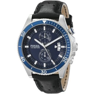 Fossil Men's Wakefield Chronograph Blue Dial Black Leather Watch CH2945
