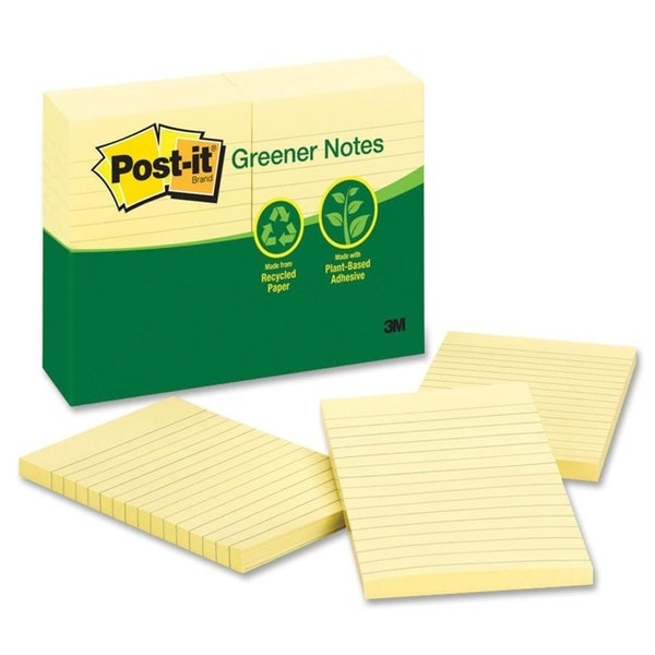 "Post-it Canary 4"" x 6"" Lined Adhesive Notes - 12 Pads"