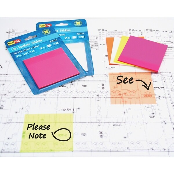 "Redi-Tag Neon 3"" x 3"" SeeNote Transparent Stickies - 2 Pads"