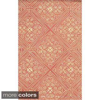 Hand-tufted Trellis Wool Blue/ Pink Rug (8' x 10')