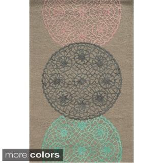 Hand-tufted Trellis Wool Grey/ Pink/ Rust Rug (2' x 3')