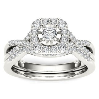 De Couer 10k White Gold 3/8ct TDW Diamond Halo Engagement Ring Set with One Band (H-I, I2)