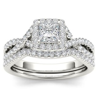 De Couer 14k White Gold 1ct TDW Diamond Criss-Cross Halo Engagement Ring Set with One Band (H-I, I2)