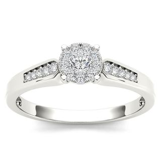 De Couer 10k White Gold 1/4ct TDW Diamond Cluster Engagement Ring (H-I, I2)