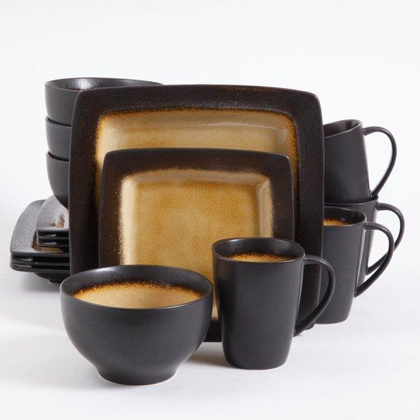 Gibson Ocean Paradise 16-piece Amber Dinnerware Set