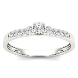 De Couer 10k White Gold 1/5ct TDW Diamond Classic Engagement Ring (H-I, I2)