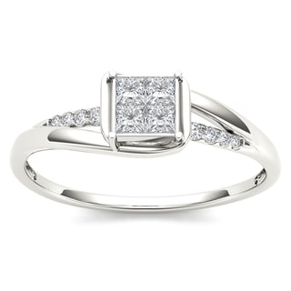 De Couer 10k White Gold 1/4ct TDW Diamond Bypass Engagement Ring (H-I, I2)