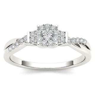 De Couer 10k White Gold 1/4ct TDW Diamond Three-Stone look Engagement Ring (H-I, I2)