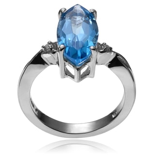 Journee Collection Sterling Silver Swiss Blue Topaz Diamond Accent Ring