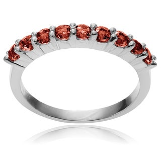 Journee Collection Sterling Silver Round Garnet Ring Band