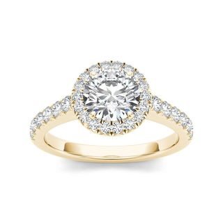 De Couer 14k Yellow Gold 1 1/2ct TDW Diamond Halo Engagement Ring (H-I, I2)