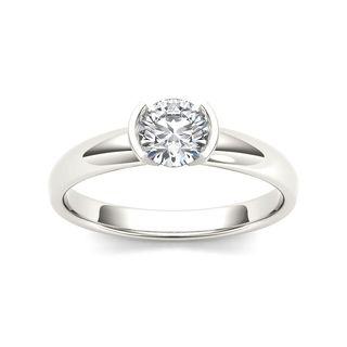 De Couer 14k White Gold 1ct TDW Diamond Half-Bezel Engagement Ring (H-I, I2)