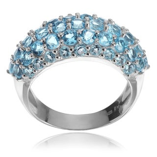 Journee Collection Sterling Silver Swiss Blue Topaz Ring