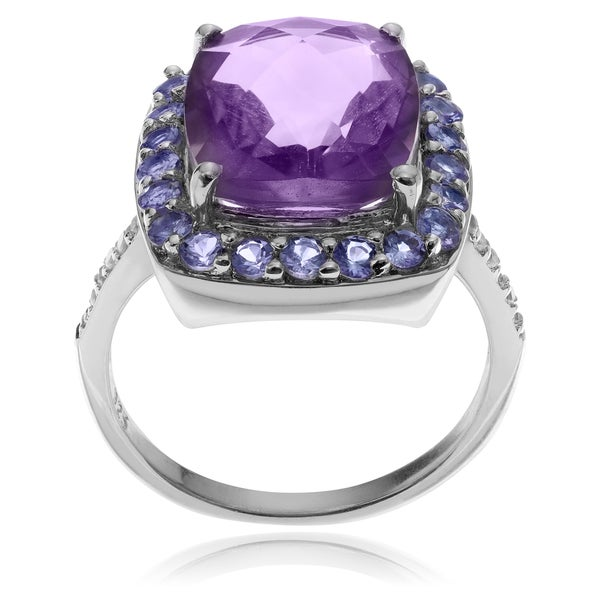 Journee Collection Rhodium-plated Sterling Silver Multi-gemstone Ring