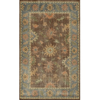 Hand-Knotted Border New Zealand Wool Brown Rug (2' x 3')