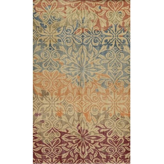 Hand-Knotted Abstract New Zealand Wool Beige Rug (3' x 5')