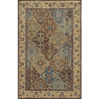 Hand-Knotted Border New Zealand Wool Beige Rug (3' x 5')
