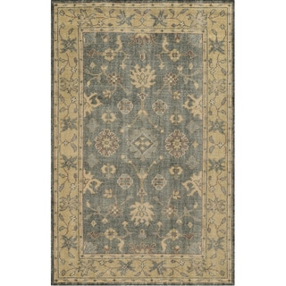 Hand-Knotted Border Grey New Zealand Wool Rug (3' x 5')