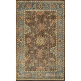Hand-Knotted Border New Zealand Wool Brown Rug (3' x 5')