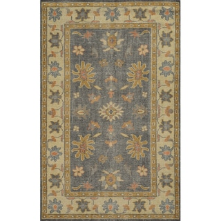 Hand-Knotted Border New Zealand Wool Grey Rug (3' x 5')