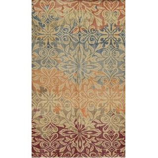 Hand-Knotted Abstract New Zealand Wool Beige Rug (5' x 8')