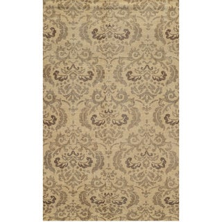 Hand-crafted Abstract New Zealand Wool Blue/ Beige/ Brown Rug (2' x 3')