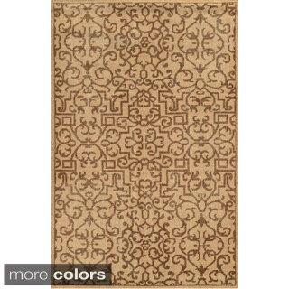 Hand-Knotted Abstract New Zealand Wool Blue/ Beige/ Brown Rug (2' x 3')