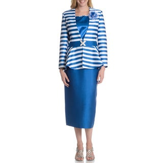 Giovanna Signature Women's 3-piece Stripe Skirt Suit