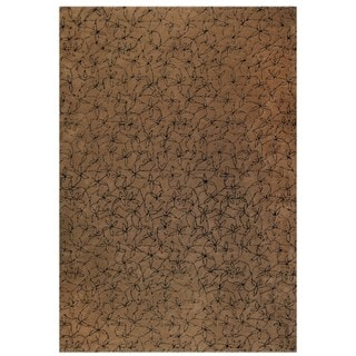 Hand Tufted Made Brown / Black New Zealand Wool Rug (5'6 x 7'10) India