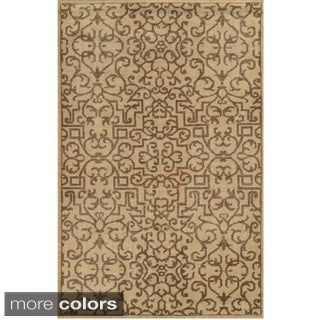 Hand-Knotted Abstract New Zealand Wool Blue/ Beige/ Brown Rug (9' x 12')