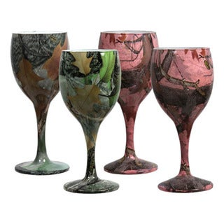 Rivers Edge Products 4 Pack Camo Wine Glasses 2 Green /2 Pink
