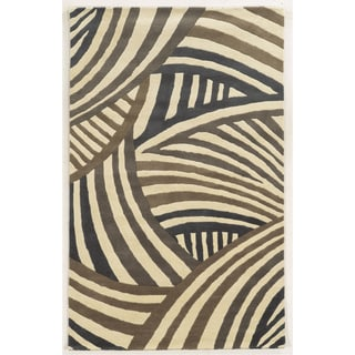 Hand-tufted Abstract Wool Ivory Rug (3' x 5')