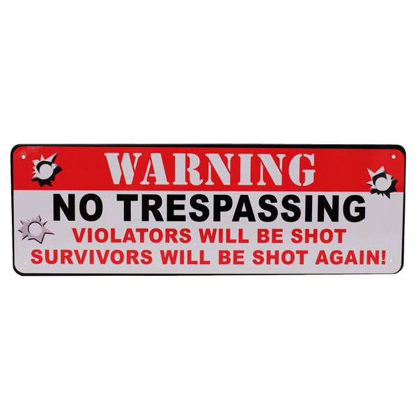 Rivers Edge Products 10.5-inch x 3.5-inch Tin Sign Warning No Trespassing