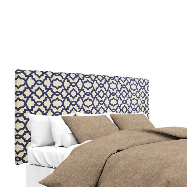 MJL Furniture Alice Navy Blue Natural Linen Upholstered Headboard
