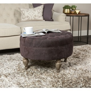 Kosas Collection Clarrie Round Button Tufted Ottoman