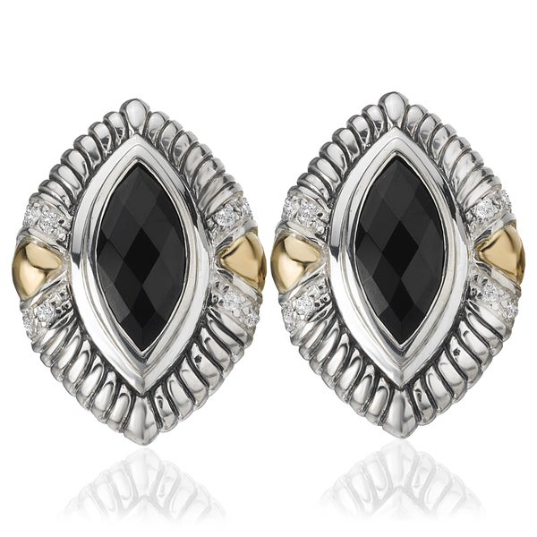 Avanti Palladium Silver 18k Yellow Gold Black Onyx and White Sapphire Omega Back Earrings