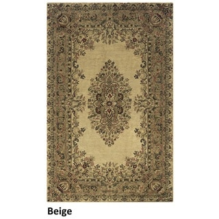 Hand-tufted Border New Zealand Wool Black/ Beige/ Burgundy Rug (9' x 12')