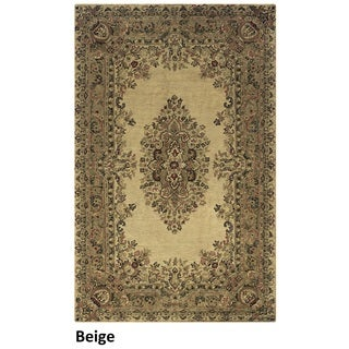 Hand-tufted Border New Zealand Wool Black/ Beige/ Burgundy Rug (10' x 14')