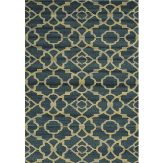 Power-loomed Trellis Polypropylene Blue Rug (7' x 10')