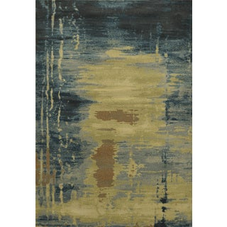Power-loomed Abstract Polypropylene Beige Area Rug (6' x 9')