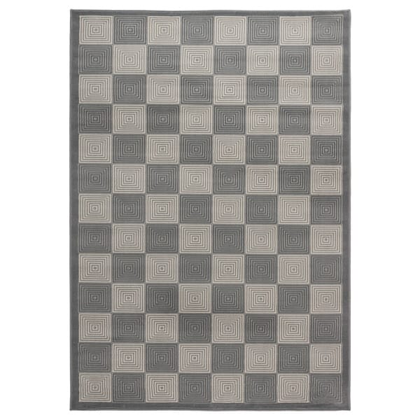 Power-loomed Check Polypropylene Grey Rug (7' x 10')