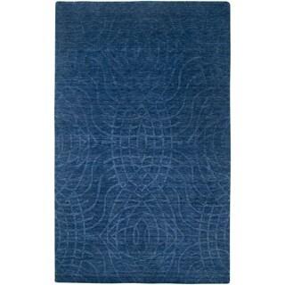 Handmade Solid Wool Blue Rug (3' x 5')