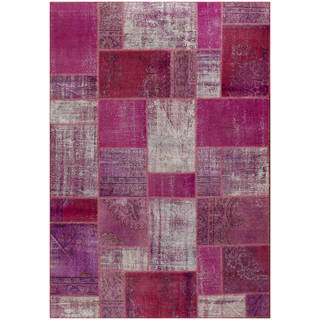 Vintage Patchwork Hand-knotted Overdyed Purple Wool Area Rug (7' x 9')