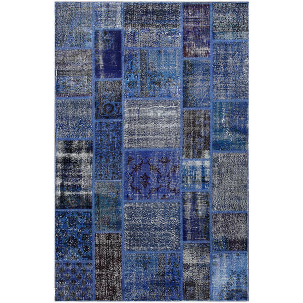 Vintage Patchwork Hand-knotted Overdyed Blue Wool Area Rug (6' x 8')