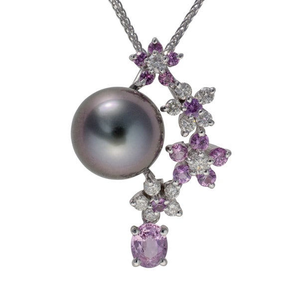 18k White Gold Tahitian Pearl Pink Sapphire and 1/3ct TDW Diamond Flower Pendant (G-H, SI2-VS1)(10-11mm)